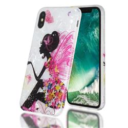 Flower Butterfly Girl Shell Pattern Clear Bumper Glossy Rubber Silicone Phone Case for iPhone XS / iPhone X(5.8 inch)