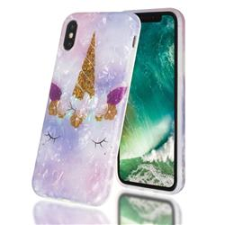 Unicorn Girl Shell Pattern Clear Bumper Glossy Rubber Silicone Phone Case for iPhone XS / iPhone X(5.8 inch)