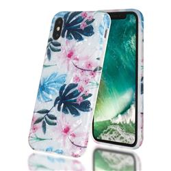 Flowers and Leaves Shell Pattern Clear Bumper Glossy Rubber Silicone Phone Case for iPhone XS / iPhone X(5.8 inch)