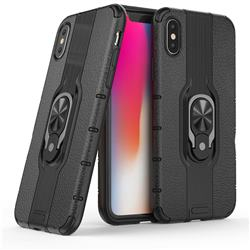 Alita Battle Angel Armor Metal Ring Grip Shockproof Dual Layer Rugged Hard Cover for iPhone XS / iPhone X(5.8 inch) - Black