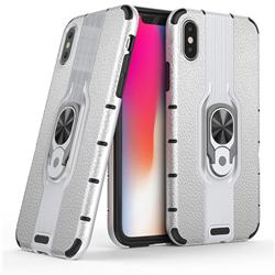 Alita Battle Angel Armor Metal Ring Grip Shockproof Dual Layer Rugged Hard Cover for iPhone XS / iPhone X(5.8 inch) - Silver