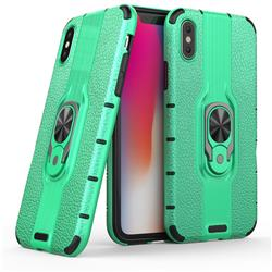 Alita Battle Angel Armor Metal Ring Grip Shockproof Dual Layer Rugged Hard Cover for iPhone XS / iPhone X(5.8 inch) - Green