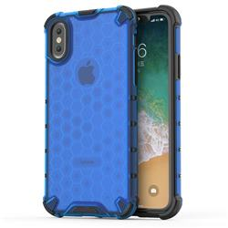 Honeycomb TPU + PC Hybrid Armor Shockproof Case Cover for iPhone XS / iPhone X(5.8 inch) - Blue