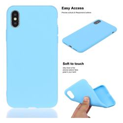 Soft Matte Silicone Phone Cover for iPhone XS / iPhone X(5.8 inch) - Sky Blue
