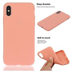 Soft Matte Silicone Phone Cover for iPhone XS / iPhone X(5.8 inch) - Coral Orange