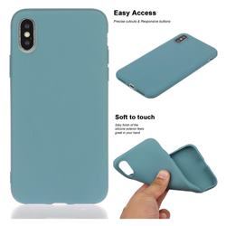 Soft Matte Silicone Phone Cover for iPhone XS / iPhone X(5.8 inch) - Lake Blue