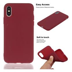 Soft Matte Silicone Phone Cover for iPhone XS / iPhone X(5.8 inch) - Wine Red