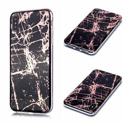 Black Galvanized Rose Gold Marble Phone Back Cover for iPhone XS / iPhone X(5.8 inch)