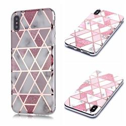 Pink Rhombus Galvanized Rose Gold Marble Phone Back Cover for iPhone XS / iPhone X(5.8 inch)