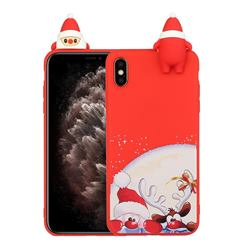Santa Claus Elk Christmas Xmax Soft 3D Doll Silicone Case for iPhone XS / iPhone X(5.8 inch)
