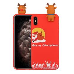 Moon Santa and Elk Christmas Xmax Soft 3D Doll Silicone Case for iPhone XS / iPhone X(5.8 inch)