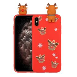 Elk Snowflakes Christmas Xmax Soft 3D Doll Silicone Case for iPhone XS / iPhone X(5.8 inch)