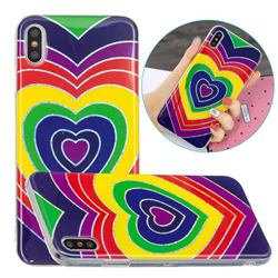 Rainbow Heart Painted Galvanized Electroplating Soft Phone Case Cover for iPhone XS / iPhone X(5.8 inch)