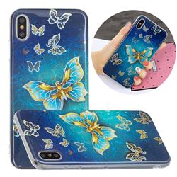 Golden Butterfly Painted Galvanized Electroplating Soft Phone Case Cover for iPhone XS / iPhone X(5.8 inch)