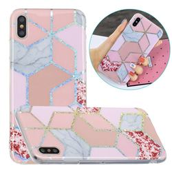Pink Marble Painted Galvanized Electroplating Soft Phone Case Cover for iPhone XS / iPhone X(5.8 inch)