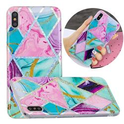 Triangular Marble Painted Galvanized Electroplating Soft Phone Case Cover for iPhone XS / iPhone X(5.8 inch)