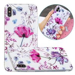 Magnolia Painted Galvanized Electroplating Soft Phone Case Cover for iPhone XS / iPhone X(5.8 inch)