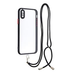 Necklace Cross-body Lanyard Strap Cord Phone Case Cover for iPhone XS / iPhone X(5.8 inch) - Black