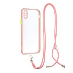 Necklace Cross-body Lanyard Strap Cord Phone Case Cover for iPhone XS / iPhone X(5.8 inch) - Pink