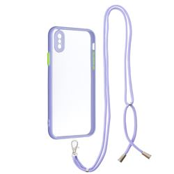 Necklace Cross-body Lanyard Strap Cord Phone Case Cover for iPhone XS / iPhone X(5.8 inch) - Purple