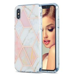 Pink White Marble Pattern Galvanized Electroplating Protective Case Cover for iPhone XS / iPhone X(5.8 inch)