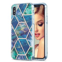 Blue Green Marble Pattern Galvanized Electroplating Protective Case Cover for iPhone XS / iPhone X(5.8 inch)
