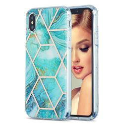 Blue Sea Marble Pattern Galvanized Electroplating Protective Case Cover for iPhone XS / iPhone X(5.8 inch)