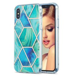Green Glacier Marble Pattern Galvanized Electroplating Protective Case Cover for iPhone XS / iPhone X(5.8 inch)