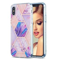 Purple Dream Marble Pattern Galvanized Electroplating Protective Case Cover for iPhone XS / iPhone X(5.8 inch)