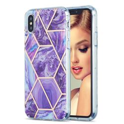 Purple Gagic Marble Pattern Galvanized Electroplating Protective Case Cover for iPhone XS / iPhone X(5.8 inch)