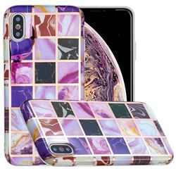 Square Puzzle Painted Marble Electroplating Protective Case for iPhone XS / iPhone X(5.8 inch)