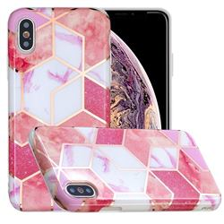 Cherry Glitter Painted Marble Electroplating Protective Case for iPhone XS / iPhone X(5.8 inch)