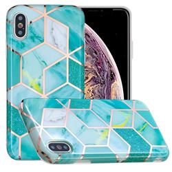 Green Glitter Painted Marble Electroplating Protective Case for iPhone XS / iPhone X(5.8 inch)