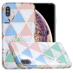 Fresh Triangle Painted Marble Electroplating Protective Case for iPhone XS / iPhone X(5.8 inch)