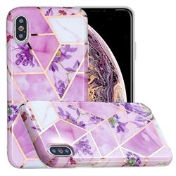 Purple Flower Painted Marble Electroplating Protective Case for iPhone XS / iPhone X(5.8 inch)