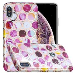Round Puzzle Painted Marble Electroplating Protective Case for iPhone XS / iPhone X(5.8 inch)