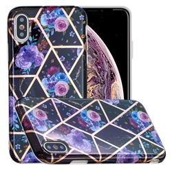 Black Flower Painted Marble Electroplating Protective Case for iPhone XS / iPhone X(5.8 inch)