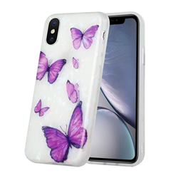 Purple Butterfly Shell Pattern Glossy Rubber Silicone Protective Case Cover for iPhone XS / iPhone X(5.8 inch)