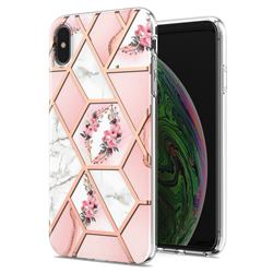 Pink Flower Marble Electroplating Protective Case Cover for iPhone XS / iPhone X(5.8 inch)