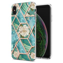 Blue Chrysanthemum Marble Electroplating Protective Case Cover for iPhone XS / iPhone X(5.8 inch)