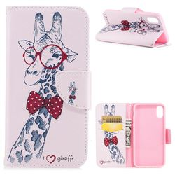 Glasses Giraffe Leather Wallet Case for iPhone XS / X / 10 (5.8 inch)