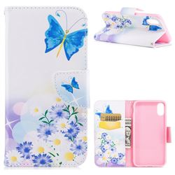 Butterflies Flowers Leather Wallet Case for iPhone XS / X / 10 (5.8 inch)