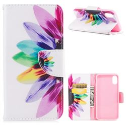 Seven-color Flowers Leather Wallet Case for iPhone XS / X / 10 (5.8 inch)