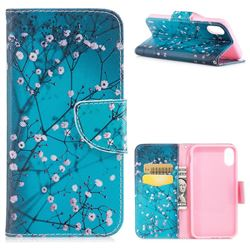 Blue Plum Leather Wallet Case for iPhone XS / X / 10 (5.8 inch)