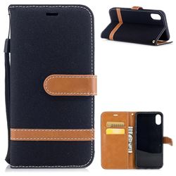 Jeans Cowboy Denim Leather Wallet Case for iPhone XS / X / 10 (5.8 inch) - Black
