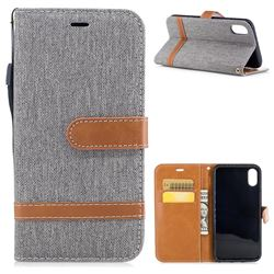 Jeans Cowboy Denim Leather Wallet Case for iPhone XS / X / 10 (5.8 inch) - Gray