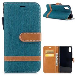 Jeans Cowboy Denim Leather Wallet Case for iPhone XS / X / 10 (5.8 inch) - Green