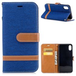 Jeans Cowboy Denim Leather Wallet Case for iPhone XS / X / 10 (5.8 inch) - Sapphire