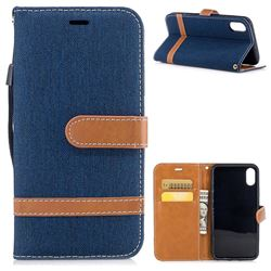 Jeans Cowboy Denim Leather Wallet Case for iPhone XS / X / 10 (5.8 inch) - Dark Blue