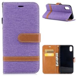 Jeans Cowboy Denim Leather Wallet Case for iPhone XS / X / 10 (5.8 inch) - Purple